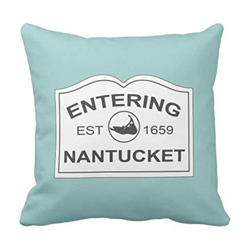 ZQLXD Funda de almohada negra Inglaterra Nantucket Island Est con mapa en azul turquesa y destino decorativo funda de almohada cuadrada 45,7 x 45,7 cm
