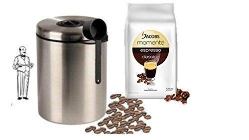 Jacobs Momente Espresso classico + Edelstahldose für 1 kg Kaffeebohnen Neu mit Silicabag von Conny Clever® zur Erhaltung der Aromastoffe von James Premium®
