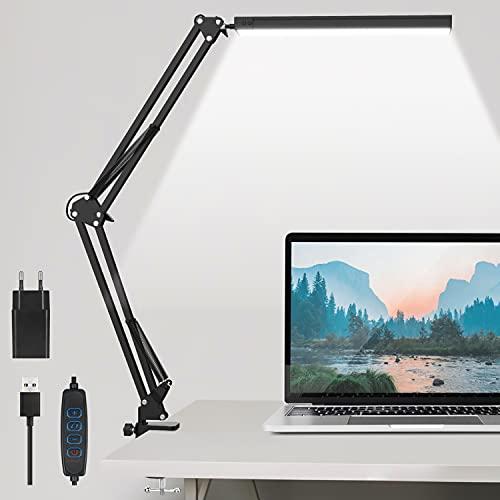 Schreibtischlampe LED Tischlampe Bürolampe Metall Schwenkarm Architektenlampe mit Stufenloses Dimmen, einstellbare Farbtemperaturen, Augenschutz Speicherfunktion, USB Adapter, 12W