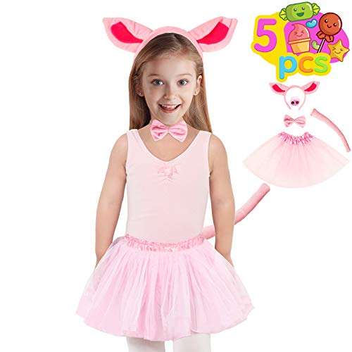 Funnlot Pig Costume for Kids,5PCSPig Ears Costume Pig Costume Accessories with Tutu Skirt Pig Headband Pig Nose Bow Tie Tail for Halloween Cosplay Pretend Party