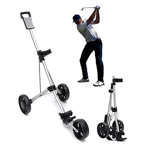 TTIK 3 Ruedas Carro De Golf, con Empuñadura Ajustable Y Sistema De Freno De Pie, Fácil Abrir/Cerrar Plegable Carrito De Golf Push...
