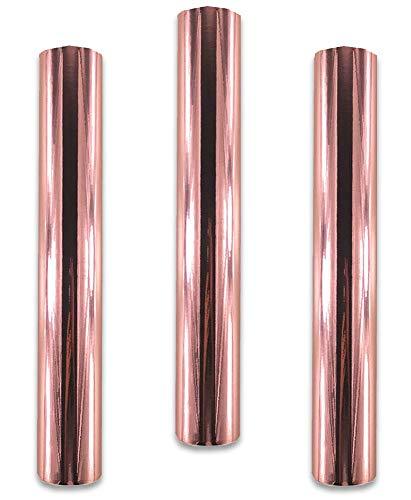 Redodeco Glänzende Holografische Opal-Vinyl-Chrom-Klebefolie, permanente Vinylfolie, Rolle, 30cm x 30cm, 3Bögen rose gold