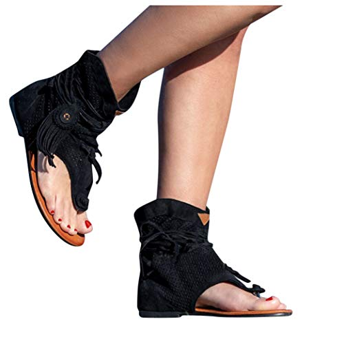 Mimacoo Retro Bohemian Sandals for Womens Solid Tassel Shoes Summer Beach Sandals Roman Open Toe Boots Black