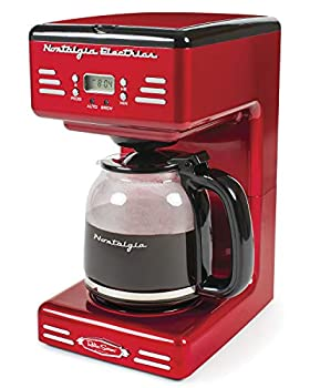 Nostalgia RCOF12RR New & Improved 12-Cup Programmable Coffee Maker with LED Display Automatic Shut-Off & Keep Warm Pause-And-Serve Function Includes Reusable Filter Retro Red