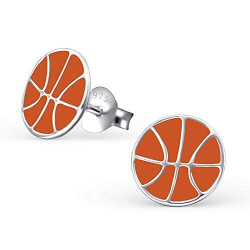 So Chic Bijoux© Kinder-Ohrringe Basketball Orange Silber 925