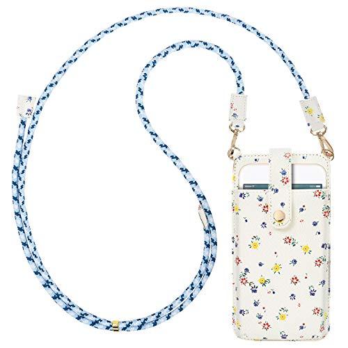 takyu Handy Umhängetasche damen, Kleine Handytasche zum umhängen mit Kartenfächer PU Leder + Transparente Einlage für Handy unter 6.5 Zoll(Blumenmuster, Weiß)