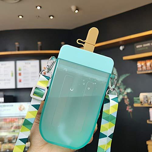 MikeyBee Hervidor cuadrado doble paja fría bebida taza verano estudiante beber taza al aire libre hielo plástico taza de agua (HC146-verde, 320ML)