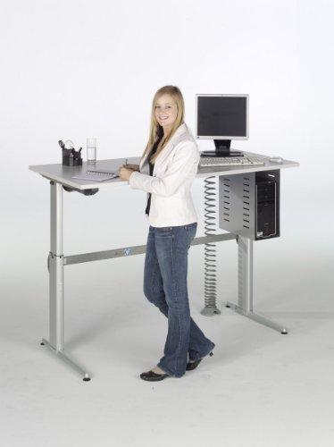 Schreibtisch Set Hammerbacher Serie XE 160 cm höhenverstellbar mit PC - Halterung & Kabelspirale in Dekor Lichtgrau