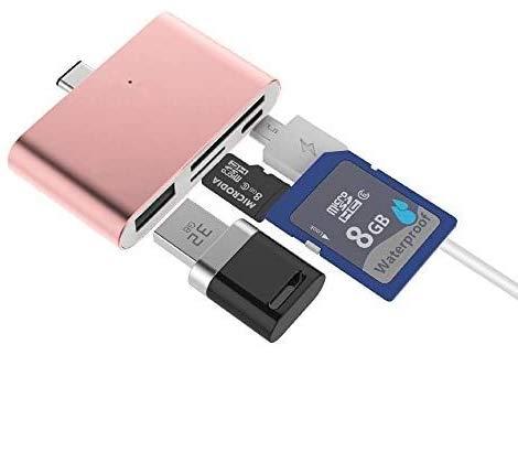 ElementDigital Type C Card Reader USB C OTG USB 2.0 Hub/TF/SD Card Reader, 4-in-1 USB 3.1 with Micro USB Charging Port for MacBook, Chromebook, Pixel C Tablet, Samsung Note 7 (Rose Gold)