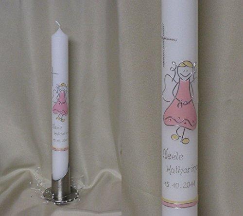 Taufkerze/Kommunionkerze ♥♥ mit Schutzengel ♥♥ in 40 x 4 cm, inklusive Beschriftung und Aufbewahrungskarton ! P 26