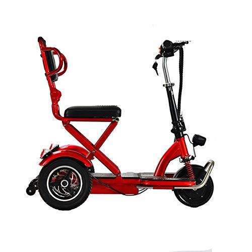 LINGZE E-Scooter eléctrico de 3 Ruedas, Potente batería y Motor de Scooter, Ligero Plegable con Pantalla Digital, Noches de Faros LED potentes, para Adultos y Adolescentes