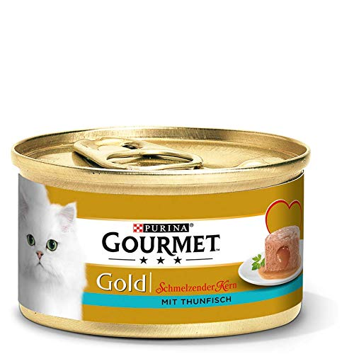 PURINA GOURMET Gold Schmelzender Kern Katzenfutter nass, mit Thunfisch, 12er Pack (12 x 85g)