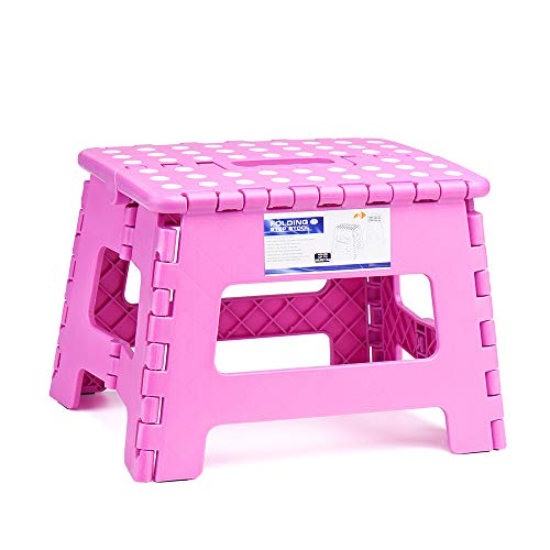 ACSTEP Acko 9Inch Folding Step Stool  The Lightweight Step Stool is Sturdy and Safe Enough for Kids Opens Easy with One Flip Great for Kitchen Bathroom Bedroom Pink