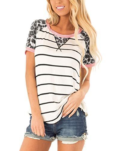 Hilltichu Womens Summer Leopard Print Tops Casual Short Sleeve Stripe Shirts