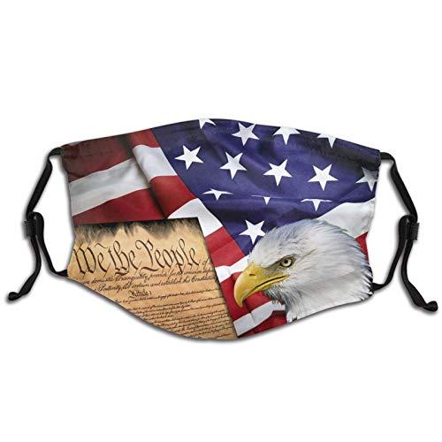 Pasamontaas Ma-sk con bolsillo de filtro reutilizable lavable con 2 filtros para nios, bandera americana, guila calva y libro negro
