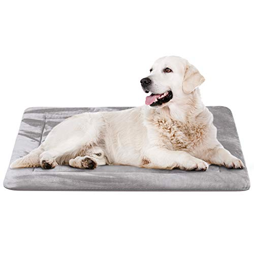 "JoicyCo Dog Bed Crate Pad Mat 35""/42""/47"" Washable Pet Bed Cat Beds Soft Dog Mattress- Anti-Slip Kennel Pad Luxury Color (35IN, Clay Gray) Beds"