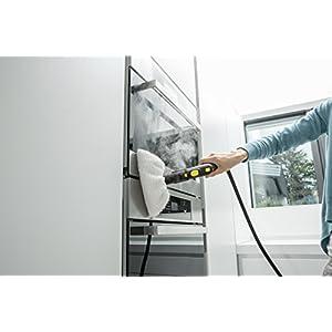 Kärcher Dampfreiniger SC 5 EasyFix (Flächenleistung je Tankfüllung: ca. 150 m², Aufheizzeit: 3 min, Zuschaltung von Heißwasser, Tank permanent befüllbar und abnehmbar, Parkposition, weiteres Zubehör)