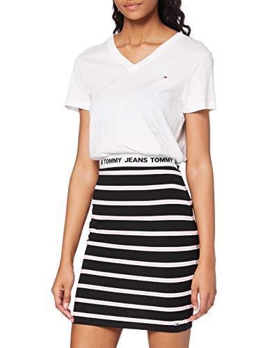 Tommy Jeans TJW Stripe Bodycon Mid Skirt Falda, Negro/Multi, 36 para Mujer