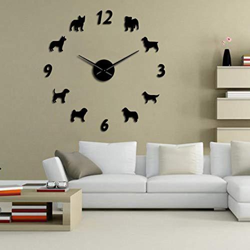 YQMJLF Reloj Pared DIY 3D Grande Reloj Pared Grande Diferentes Razas Perros Amantes los Perros dueños Mascotas decoración hogar Reloj Pared Gigante diseño Moderno Reloj Pared Cachorros DIY Negro