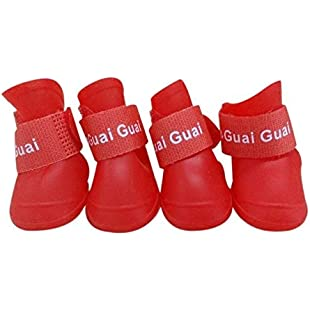 Customer reviews Culater® 4 PCS Pet Dog Rain Boots Candy Colors Waterproof Shoes Protective Rubber Boots (S, Red):Peliculas-gratis