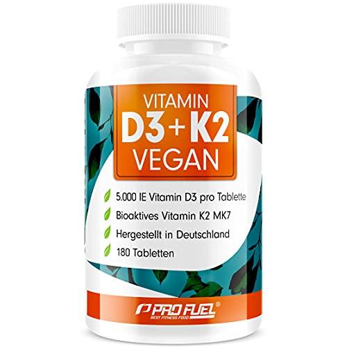 VITAMIN D3 K2 VEGAN • 5000 IE D3 + 200 mcg K2 (MK7) - 180 Tabletten mit Vitamin D3 hochdosiert aus Flechten - Vorratspackung - rein pflanzlich, 100% vegan, ohne unerwünschte Zusatzstoffe - ProFuel