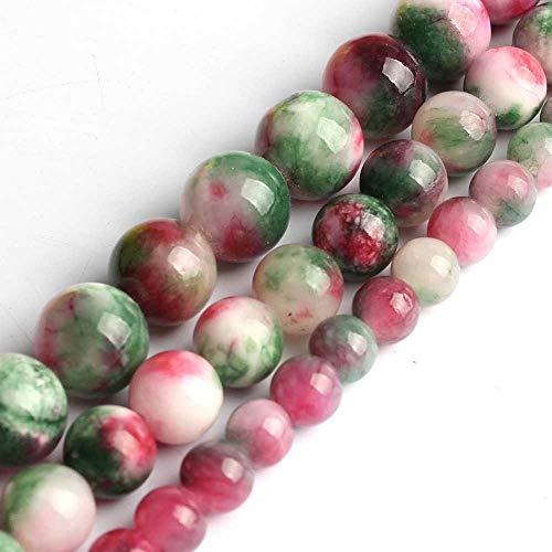 Cuentas de jade coloridas nubes de 6/8/10/12 mm, redondas, sueltas, para hacer joyas, pendientes, pulseras, collares de 38 cm (color: verde, blanco, rojo, tamaño: 10 mm, 36 piezas)