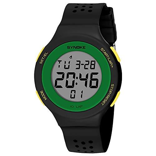 Populares Marca Luxur yFashion Deporte Hombres Mujeres Impermeable Alarma Fecha Cronómetro Regalo del Reloj de Pulsera Digital (Color : Negro)