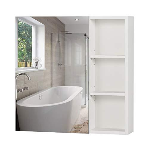Armadietto Bagno a Specchio Mobiletto Pensile 1 Anta 3 Ripiani Armadietti a Specchio Armadietto Pensile Salvaspazio specchio bagno contenitore 60 x 13.5 x 60 cm Bianco