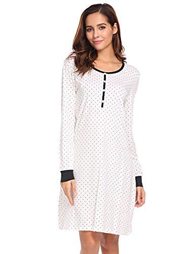 Nachthemd Damen Langarm Baumwolle Schlafanzug Lang Nachtkleider mit Punktmuster Dekoration Knielang Nachtwäsche lang, Weiß 8726, XL(EU46-48)