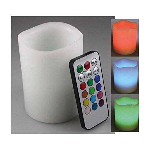 Preisvergleich Produktbild Chilitec LED-Echtwachskerze mit Farbwechsel und Fernbedienung klein - 10 cm