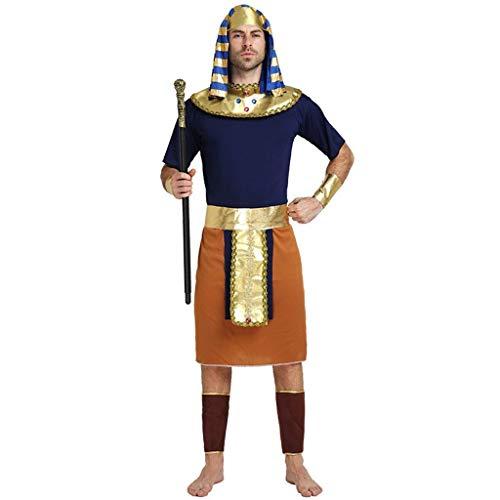 QYLOZ Halloween-Cosplay-Kostüm, ägyptische Pharao-Kostüme for Erwachsene, einschließlich Kopfbedeckung, Halsschmuck, Armbänder, Gürtel, Kostüme, Leggings (geeignet for Körpergröße 170 cm bis 185 cm)