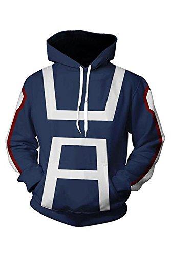 LBWNB Conjunto de uniforme para adulto, disfraz de cosplay casual con capucha y peluca (color: azul marino, talla: M)