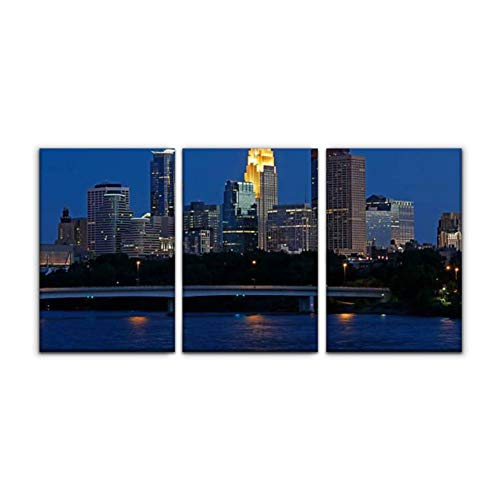 Modern Canvas Painting minneapolis skyline and mississippi river at dusk mississippi river Wall Art Artwork Decor Printed Oil Painting Landscape Home Office Bedroom Framed Decor (16'x24'x3pcs)