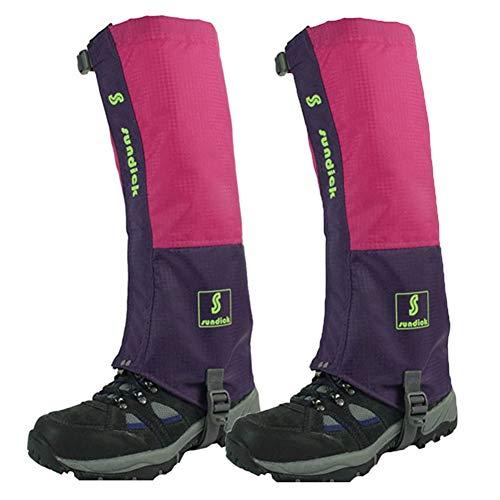Tentock 1 Par de Polainas de Montañismo a Prueba de Nieve - Polainas para Botas de Caminar Transpirables para Cámping Caminar(Rosa)