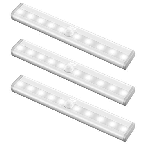 AMIR Upgraded Motion Sensor Lights, 10-LED DIY Stick-on Anywhere Portable Wireless Closet Light, Safe Lights for Hallway, Stairway, Bedroom (White, 3 Pack)