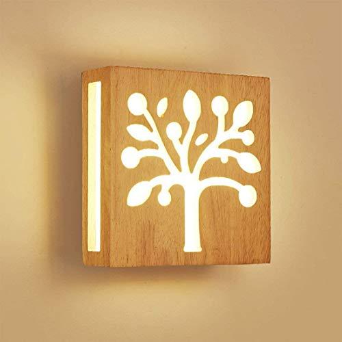 12W Luz calida LED Aplique de pared Madera Hueco Escultura Árbol Moderno Creativo Cuadrado Lámpara de pared Luces nocturnas para Niños Cuarto Cabecera Sala Pasillo Design Escalera Art Decoración