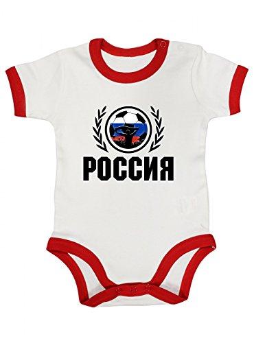Shirt Happenz Russland Weltmeisterschaft 2018#2 Premium Ringer Babybody Fan Trikot Fußball WM Nationalmannschaft Kurzarmbody, Farbe:Weiß Rot (White Red BZ19);Größe:12-18 Monate