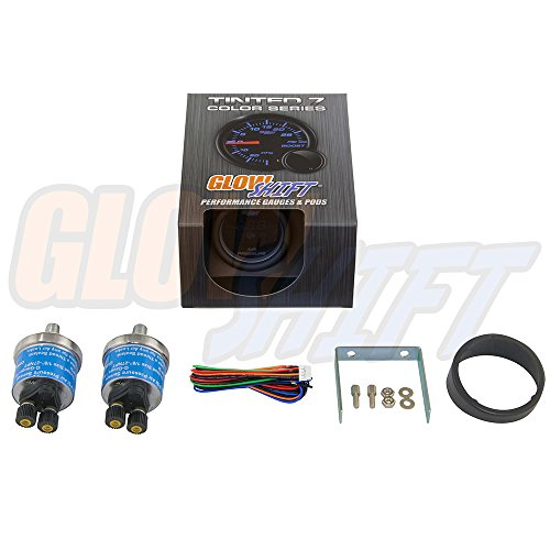 """GlowShift Tinted 7 Series Dual Digital 220 PSI Air Pressure Gauge Kit - Includes 2 Electronic Sensors - Blue LED Display - Smoked Lens - for Air Ride Suspension Systems - 2-1/16"""" 52mm"""