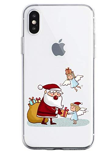 Oihxse - Custodia per Huawei P10 Plus, in silicone morbido, ultra sottile, trasparente, motivo natalizio e neve multicolore Père Noël 12