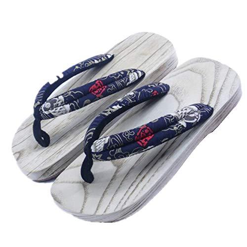 Black Sugar - Sandalias de geta mixtas de peces rojos, japoneses, sandalias de madera, zapatillas japonesas Yugata Samurai Tong con goma, para disfraz, adulto, Beige (beige), X-Large