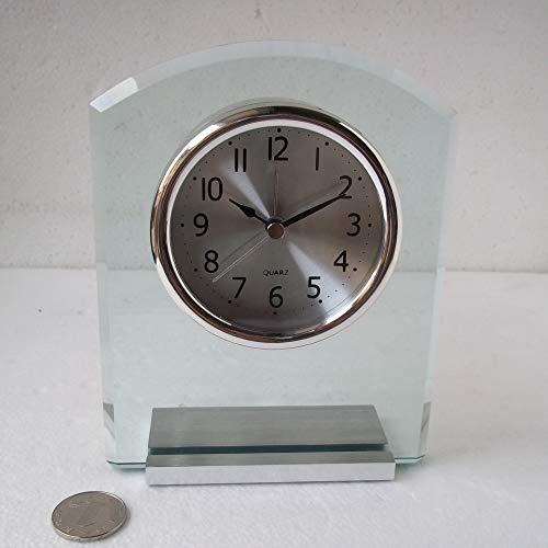 ydssy Silenciar Habitación Junto A La Cama Reloj Despertador Biselado Decoración Crescent Silver