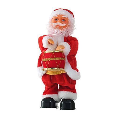 STOBOK Singender Tanzender Weihnachtsmann mit Musik Plüsch Nikolaus Figur Weihnachtsfigur Tischdeko Weihnachtsdeko Geschenk für Baby Kinder(Trommel)