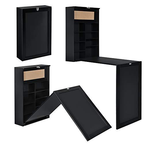 [en.casa] Klappschreibtisch Schreibtisch zum Ausklappen Wandklapptisch mit Tafel und Pinnwand Schwarz