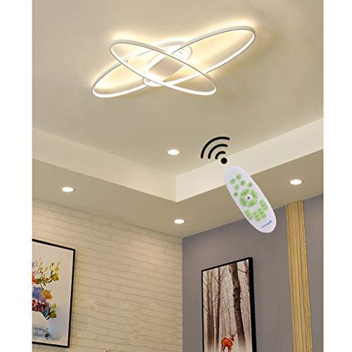 Modern LED Deckenleuchte Wohnzimmerlampe Dimmbar Weiß Schlafzimmerlampe Esszimmerlampe Decke Pendelleuchte Oval Design Lampen Deckenlampe Esstisch Küche Bad Wohnungs Deko mit Fernbedienung Leuchten