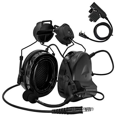 TAC-Sky Taktisches Headset Comtac II Helmversion Geräuschreduzierung Geräuschaufnahme für Airsoft-Aktivitäten mit PTT 2PIN(schwarz)