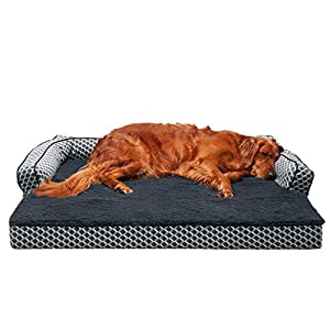 Furhaven Pet Dog Bed – Orthopedic Plush Faux Fur and Décor Comfy Couch Traditional Sofa-Style Living Room Couch Pet Bed with Removable Cover for Dogs and Cats, Diamond Gray, Jumbo