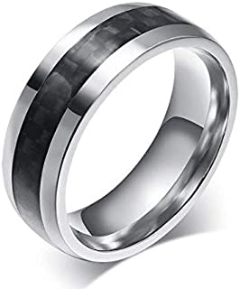 Men's Silver and Black Carbon Ring size 7