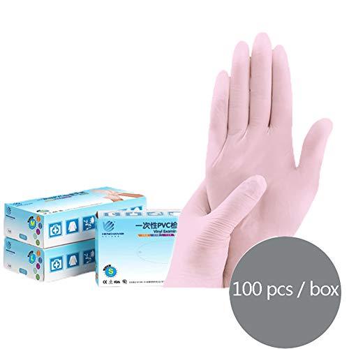 MNSSRN Einweg-PVC Inspektion Handschuhe, Lebensmittelqualität Gesundheit und Sicherheit Multifunktionswasserdicht Ölbeständig Pull-Schutzhandschuhe (100 PC/Box),M