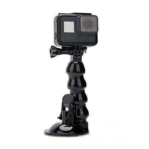 TELESIN - Soporte de ventosa para coche con extensión de cuello de cisne flexible para GoPro Hero 6/5/Fusion/Session/Xiaoyi y teléfono móvil