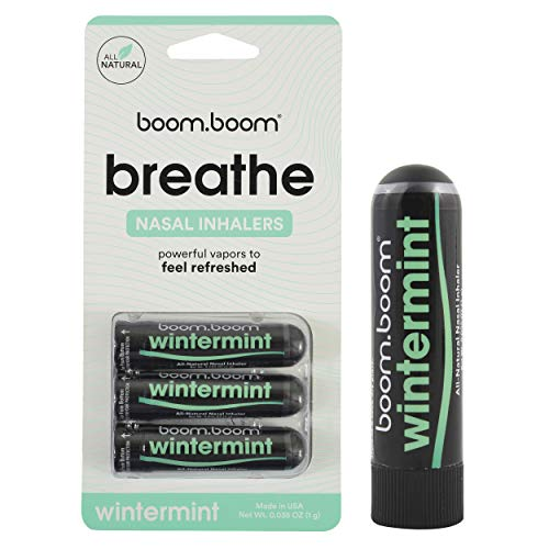Aromatherapy Nasal Inhaler (3 Pack) by BoomBoom | Enhances Breathing + Boosts Focus | Breathe Vapor Stick Provides Fresh Cooling Sensation | Made with Essential Oils + Menthol (Wintermint)